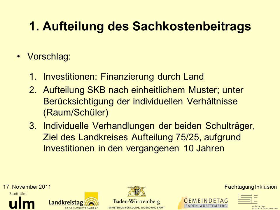 1. Aufteilung des Sachkostenbeitrags Vorschlag: 1.Investitionen: Finanzierung durch Land 2.Aufteilung SKB nach einheitlichem Muster; unter Berücksicht