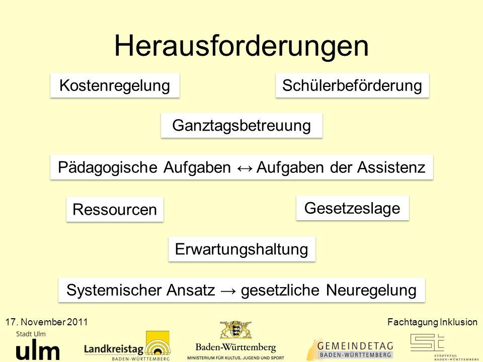 Herausforderungen 17. November 2011Fachtagung Inklusion Kostenregelung Ganztagsbetreuung Schülerbeförderung Pädagogische Aufgaben Aufgaben der Assiste