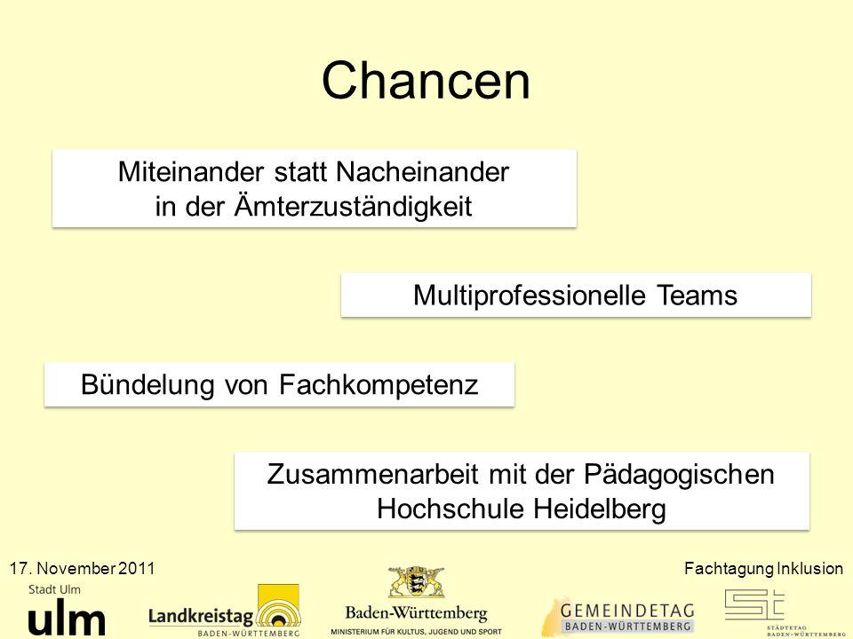 Chancen 17. November 2011Fachtagung Inklusion Miteinander statt Nacheinander in der Ämterzuständigkeit Multiprofessionelle Teams Bündelung von Fachkom