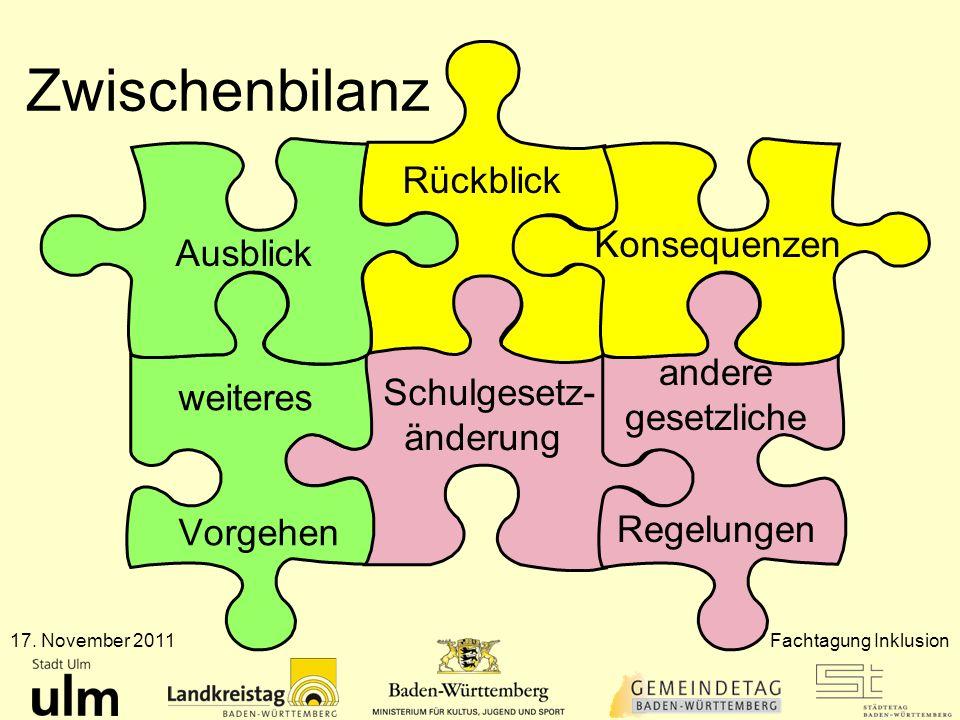 Zwischenbilanz 17. November 2011Fachtagung Inklusion Konsequenzen Rückblick Ausblick Schulgesetz- änderung andere gesetzliche Regelungen weiteres Vorg