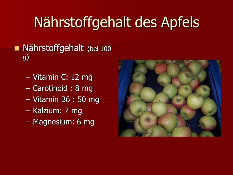 Nährstoffgehalt des Apfels Nährstoffgehalt (bei 100 g) Nährstoffgehalt (bei 100 g) –Vitamin C: 12 mg –Carotinoid : 8 mg –Vitamin B6 : 50 mg –Kalzium: