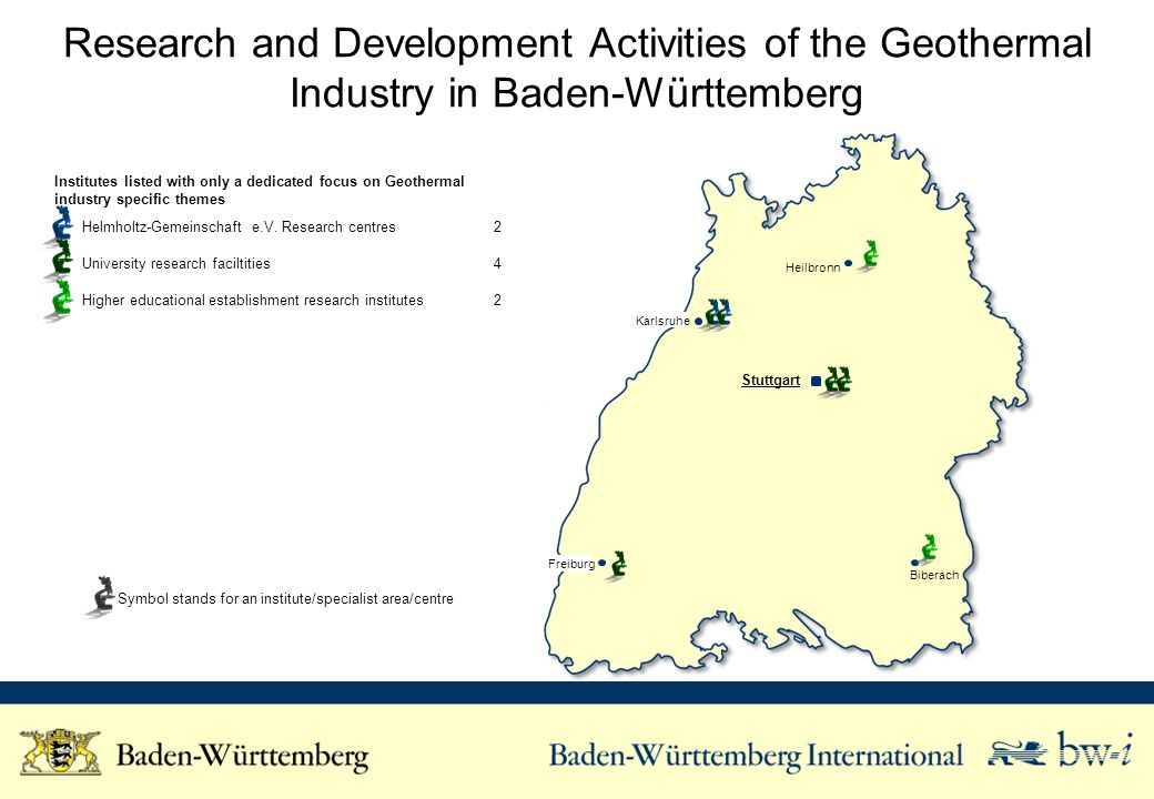 Research and Development Activities of the Geothermal Industry in Baden-Württemberg Institutes listed with only a dedicated focus on Geothermal industry specific themes Helmholtz-Gemeinschaft e.V.