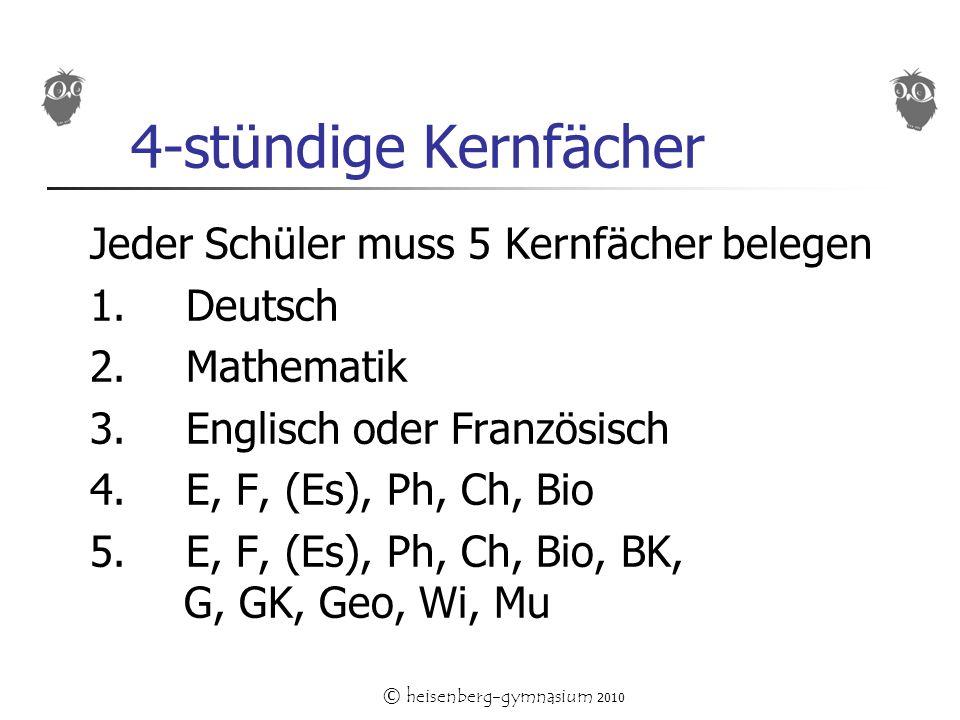 © heisenberg-gymnasium 2010 4-stündige Kernfächer Jeder Schüler muss 5 Kernfächer belegen 1.Deutsch 2. Mathematik 3. Englisch oder Französisch 4.E, F,