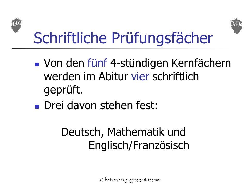 © heisenberg-gymnasium 2010 Schriftliche Prüfungsfächer Von den fünf 4-stündigen Kernfächern werden im Abitur vier schriftlich geprüft.