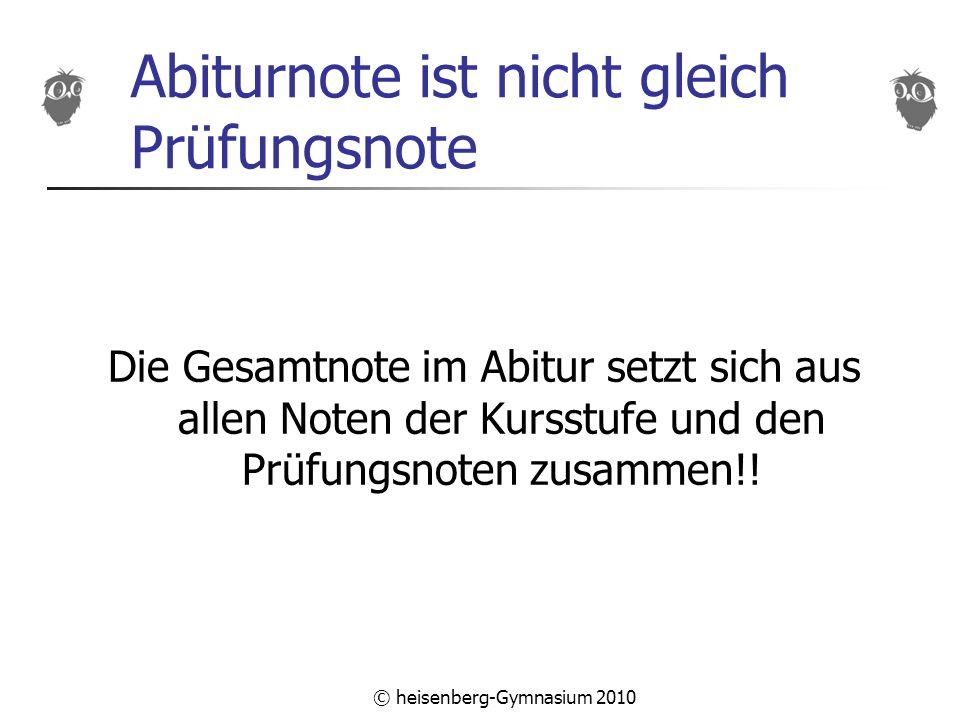 © heisenberg-Gymnasium 2010 Abiturnote ist nicht gleich Prüfungsnote Die Gesamtnote im Abitur setzt sich aus allen Noten der Kursstufe und den Prüfungsnoten zusammen!!