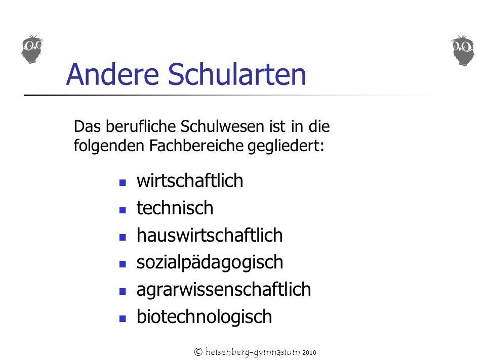 © heisenberg-gymnasium 2010 Andere Schularten wirtschaftlich technisch hauswirtschaftlich sozialpädagogisch agrarwissenschaftlich biotechnologisch Das berufliche Schulwesen ist in die folgenden Fachbereiche gegliedert:
