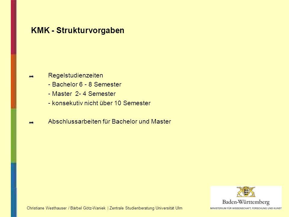 Regelstudienzeiten - Bachelor 6 - 8 Semester - Master 2- 4 Semester - konsekutiv nicht über 10 Semester Abschlussarbeiten für Bachelor und Master KMK