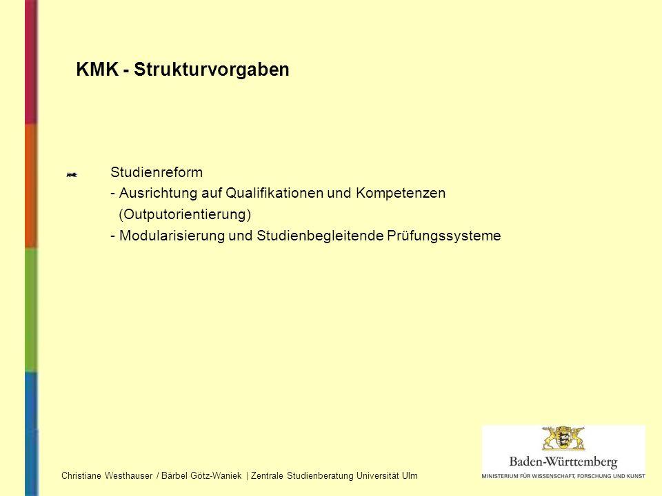 Studienreform - Ausrichtung auf Qualifikationen und Kompetenzen (Outputorientierung) - Modularisierung und Studienbegleitende Prüfungssysteme KMK - St