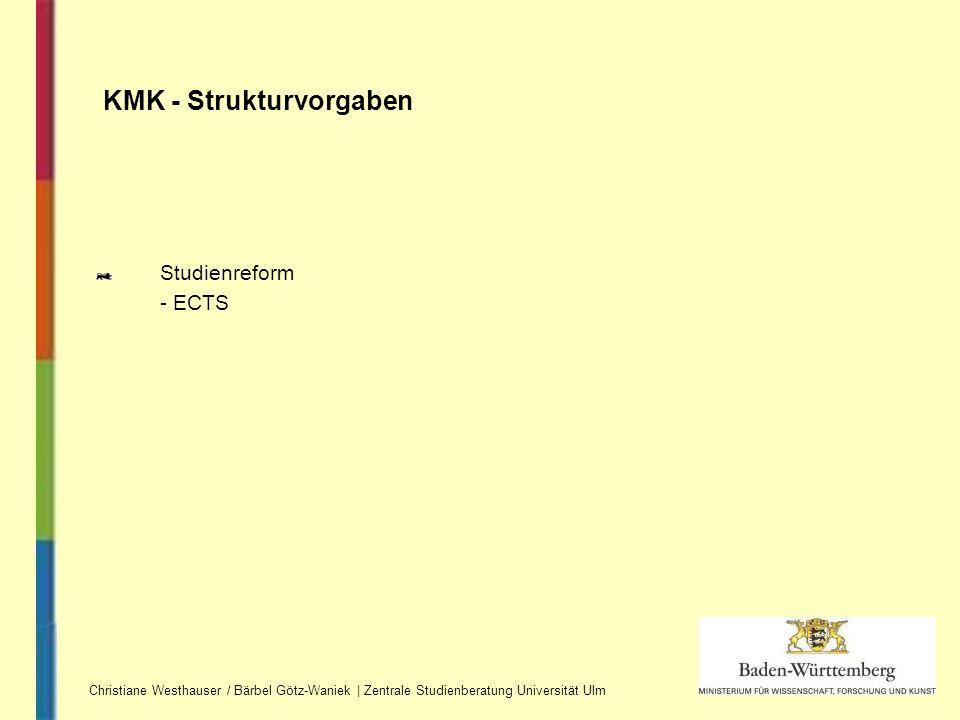 Studienreform - ECTS KMK - Strukturvorgaben Christiane Westhauser / Bärbel Götz-Waniek | Zentrale Studienberatung Universität Ulm