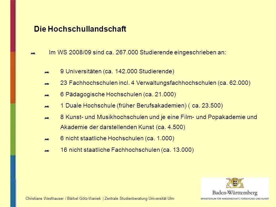 Die Hochschullandschaft Im WS 2008/09 sind ca. 267.000 Studierende eingeschrieben an: 9 Universitäten (ca. 142.000 Studierende) 23 Fachhochschulen inc