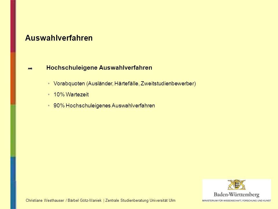 Hochschuleigene Auswahlverfahren Auswahlverfahren Christiane Westhauser / Bärbel Götz-Waniek | Zentrale Studienberatung Universität Ulm Vorabquoten (A