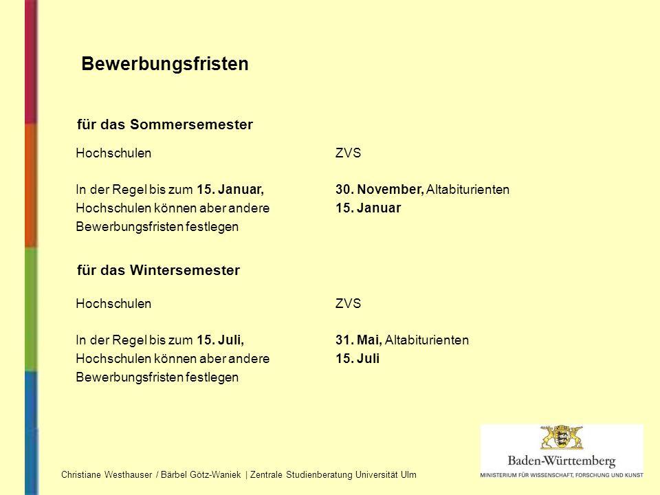 Christiane Westhauser / Bärbel Götz-Waniek | Zentrale Studienberatung Universität Ulm Bewerbungsfristen Hochschulen In der Regel bis zum 15. Januar, H