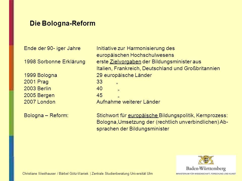 Christiane Westhauser / Bärbel Götz-Waniek | Zentrale Studienberatung Universität Ulm Die Bologna-Reform Ende der 90- iger Jahre Initiative zur Harmon