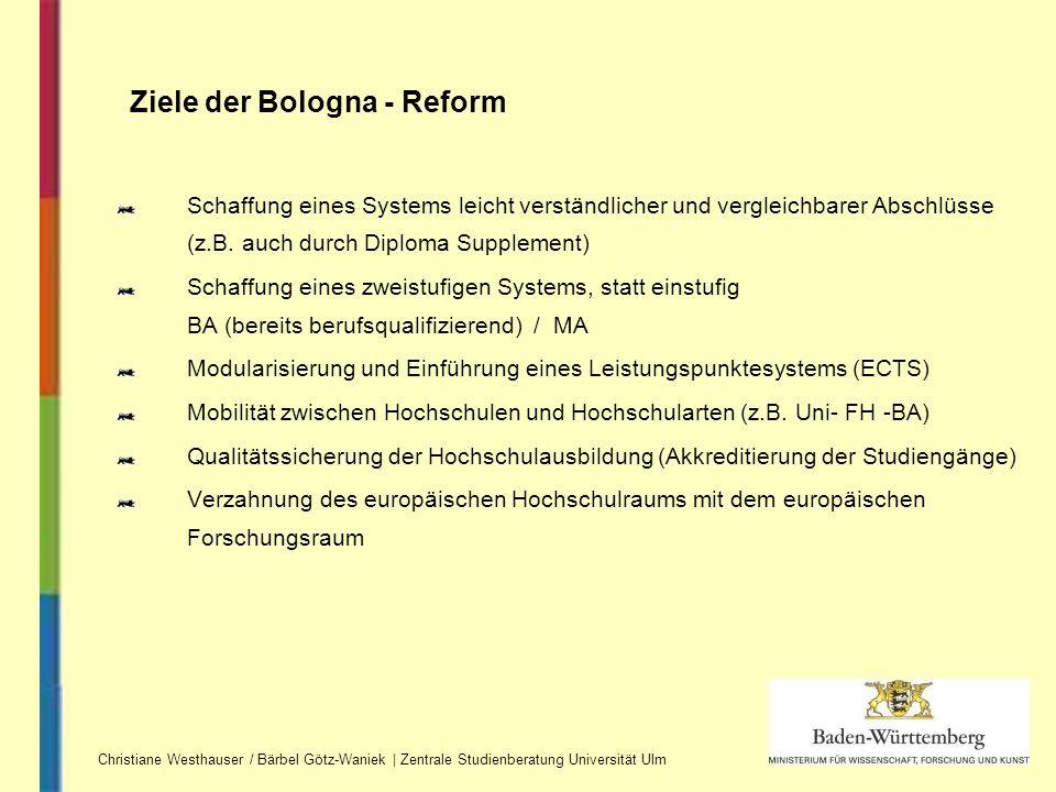 Schaffung eines Systems leicht verständlicher und vergleichbarer Abschlüsse (z.B. auch durch Diploma Supplement) Schaffung eines zweistufigen Systems,