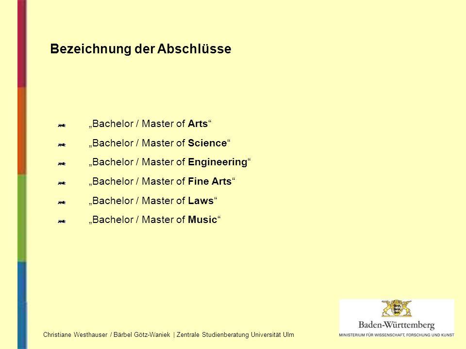 Bezeichnung der Abschlüsse Christiane Westhauser / Bärbel Götz-Waniek | Zentrale Studienberatung Universität Ulm Bachelor / Master of Arts Bachelor /
