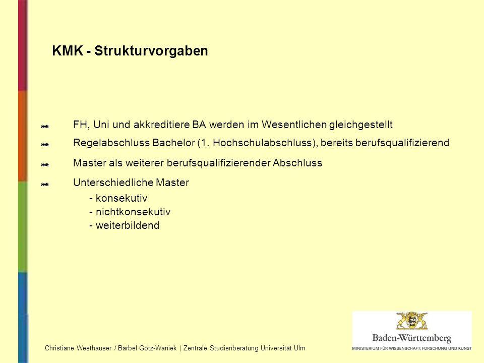 FH, Uni und akkreditiere BA werden im Wesentlichen gleichgestellt Regelabschluss Bachelor (1. Hochschulabschluss), bereits berufsqualifizierend Master