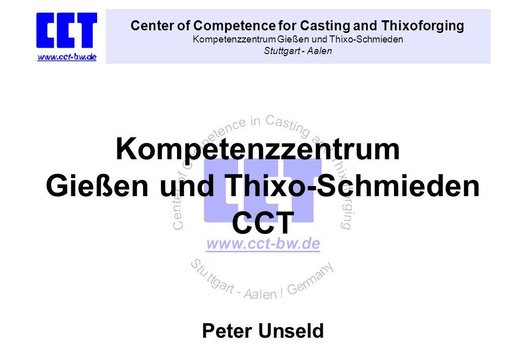 Center of Competence for Casting and Thixoforging Kompetenzzentrum Gießen und Thixo-Schmieden Stuttgart - Aalen Peter Unseld Kompetenzzentrum Gießen u
