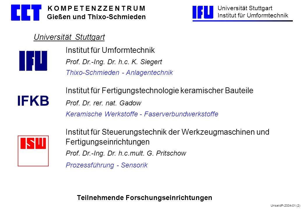 UnseldP-2004-01 (2) Universität Stuttgart Institut für Umformtechnik K O M P E T E N Z Z E N T R U M Gießen und Thixo-Schmieden Teilnehmende Forschung