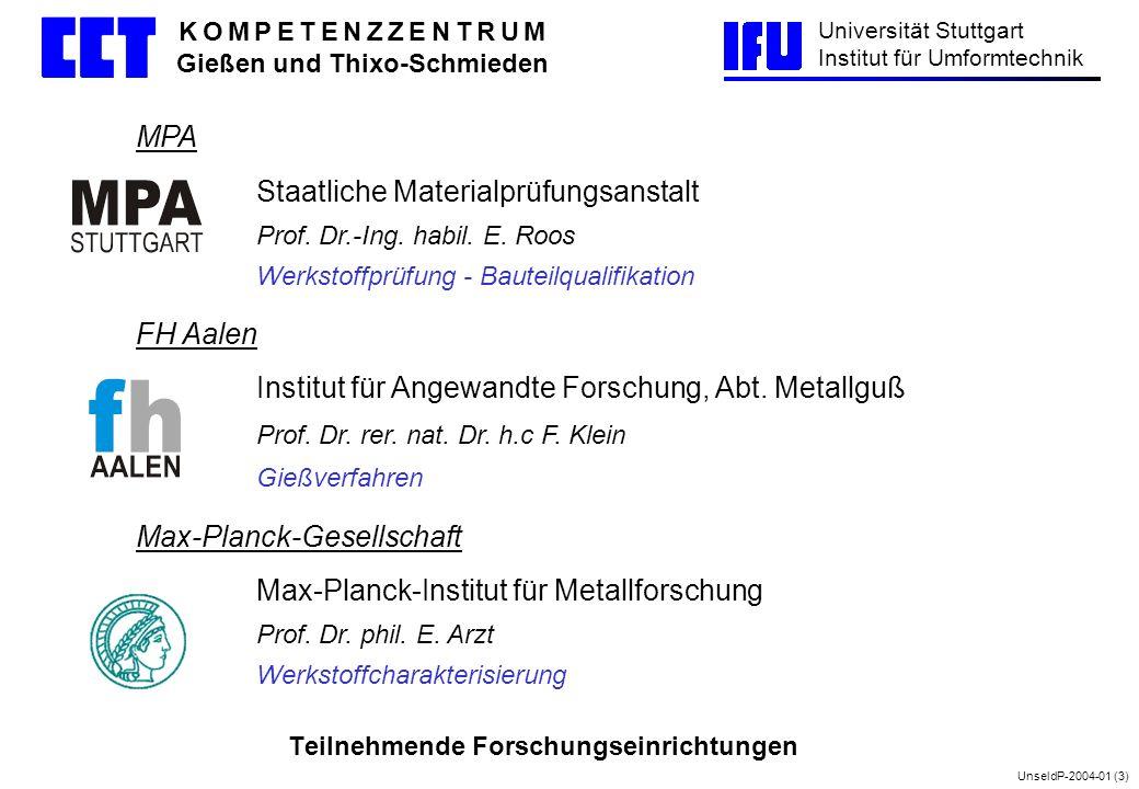 UnseldP-2004-01 (3) Universität Stuttgart Institut für Umformtechnik K O M P E T E N Z Z E N T R U M Gießen und Thixo-Schmieden MPA Staatliche Materia