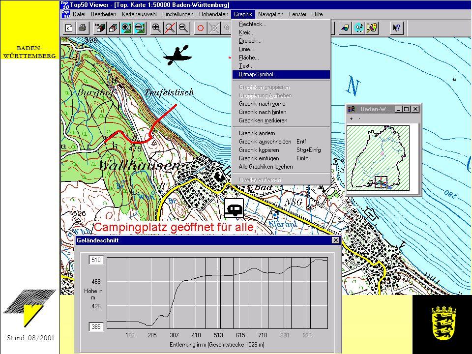BADEN- WÜRTTEMBERG Stand 08/2001 Anwendungsbeispiel Einfügen von Grafiken und Berechnen eines Geländeschnitts