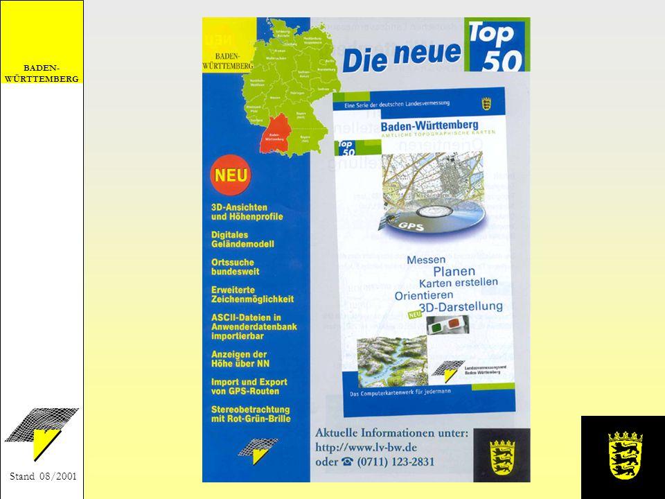 BADEN- WÜRTTEMBERG Stand 08/2001 Verkaufsstellen beim Landesvermessungsamt Baden-Württemberg - in der Kartenverkaufsstelle - unter Telefon: (0711) 123-2831 - per E-Mail: lv.vertrieb@lv-bw.de (http://www.lv-bw.de) - per Fax: (0711) 123-2980 bei den staatlichen Vermessungsämtern im Buchhandel Preis 45,-