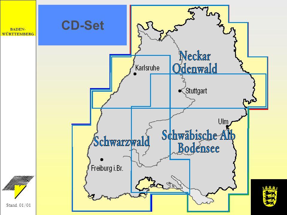 BADEN- WÜRTTEMBERG Stand 01/01 Verkaufsstellen beim Landesvermessungsamt Baden-Württemberg - in der Kartenverkaufsstelle - unter Telefon: (0711) 123-2831 - per E-Mail: lv.vertrieb@lv-bw.de (http://www.lv-bw.de) - per Fax: (0711) 123-2980 bei den staatlichen Vermessungsämtern im Buchhandel: Neckar - OdenwaldISBN 3-89021-624-2 CD1 Schwarzwald ISBN 3-89021-625-0 CD2 Schwäb.