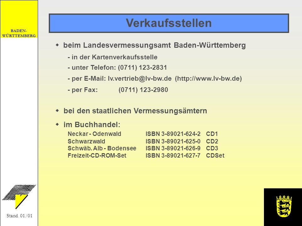 BADEN- WÜRTTEMBERG Stand 01/01 Preis Windows95, Windows98, WindowsNT 4.0 oder Windows2000 (32 bit) Prozessor 486/66 MHz 32 MB Arbeitsspeicher, 80 MB Festplattenspeicher CD-ROM-Laufwerk (empfohlen ab 4fach Geschwindigkeit) Grafikkarte mit 256 Farben Systemvoraussetzungen Einzel-CD CD-Set 39,- 90,-