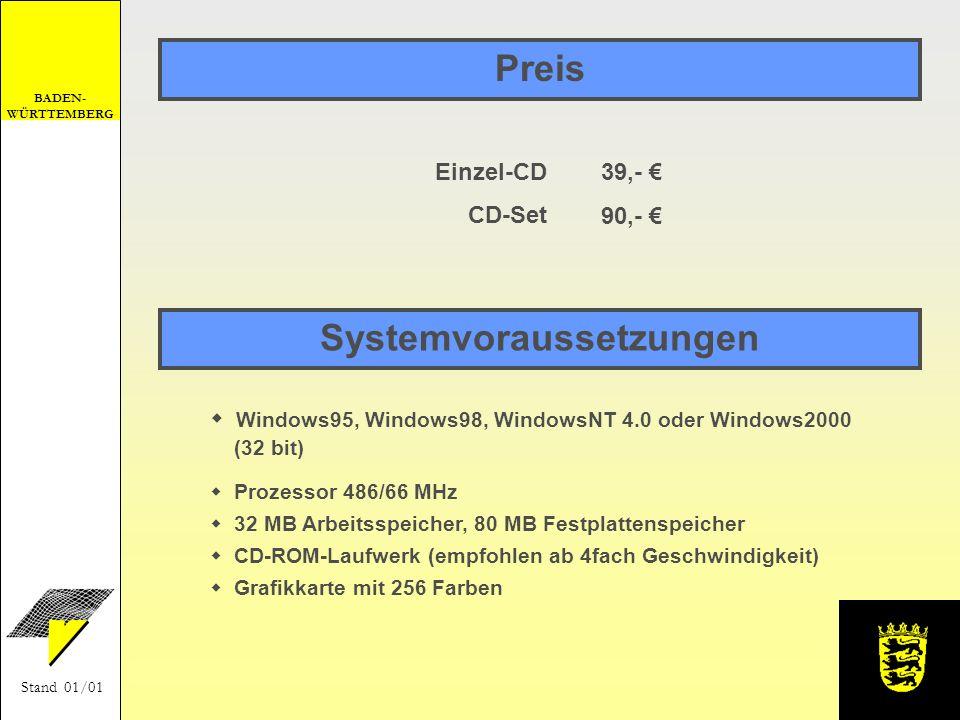 BADEN- WÜRTTEMBERG Stand 01/01 Preis Windows95, Windows98, WindowsNT 4.0 oder Windows2000 (32 bit) Prozessor 486/66 MHz 32 MB Arbeitsspeicher, 80 MB F