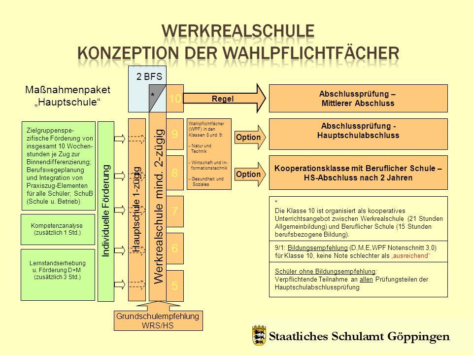 Maßnahmenpaket Hauptschule 5 6 7 8 9 Werkrealschule mind.