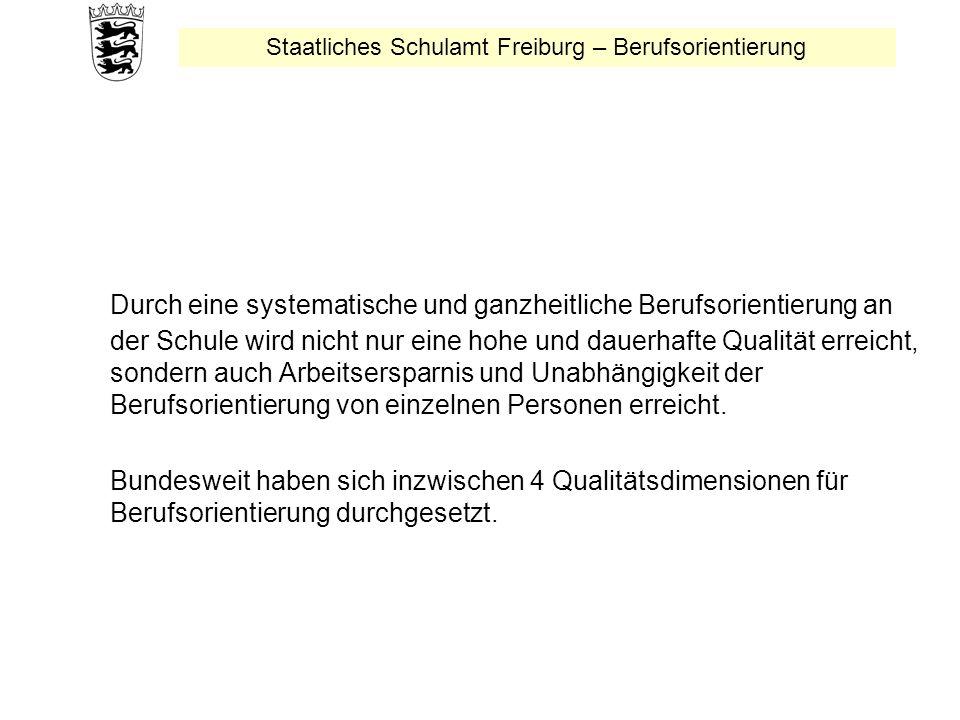 Staatliches Schulamt Freiburg – Berufsorientierung Durch eine systematische und ganzheitliche Berufsorientierung an der Schule wird nicht nur eine hohe und dauerhafte Qualität erreicht, sondern auch Arbeitsersparnis und Unabhängigkeit der Berufsorientierung von einzelnen Personen erreicht.