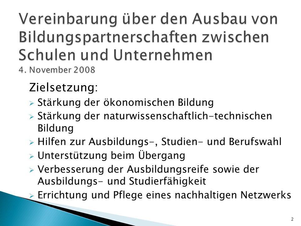 Vereinbarung über den Ausbau von Bildungspartnerschaften zwischen Schulen und Unternehmen 4. November 2008 Zielsetzung: Stärkung der ökonomischen Bild