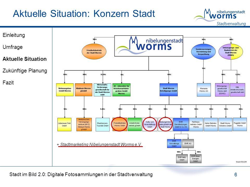 Stadt im Bild 2.0: Digitale Fotosammlungen in der Stadtverwaltung 6 Aktuelle Situation: Konzern Stadt + Stadtmarketing Nibelungenstadt Worms e.V.
