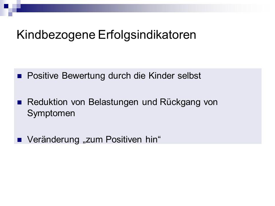 Kindbezogene Erfolgsindikatoren Positive Bewertung durch die Kinder selbst Reduktion von Belastungen und Rückgang von Symptomen Veränderung zum Positi