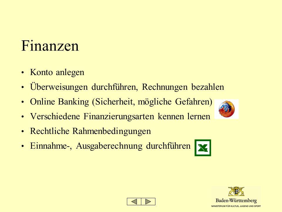 Finanzen Konto anlegen Überweisungen durchführen, Rechnungen bezahlen Online Banking (Sicherheit, mögliche Gefahren) Verschiedene Finanzierungsarten k