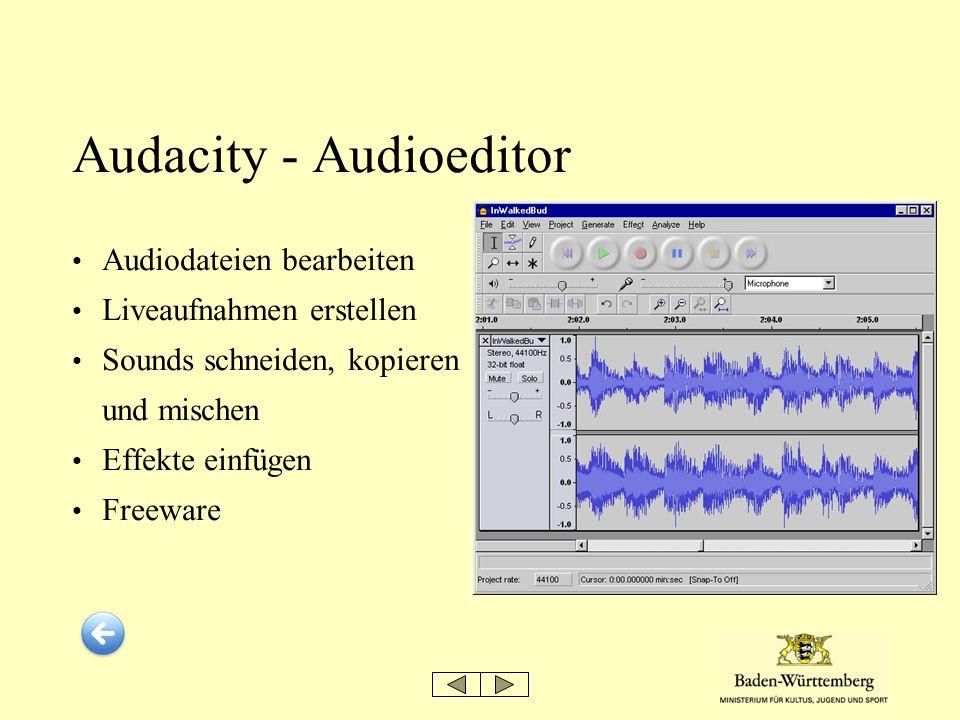 Audacity - Audioeditor Audiodateien bearbeiten Liveaufnahmen erstellen Sounds schneiden, kopieren und mischen Effekte einfügen Freeware