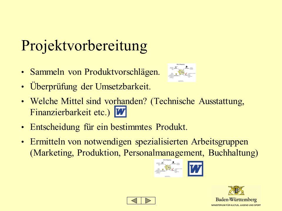 Projektvorbereitung Sammeln von Produktvorschlägen. Überprüfung der Umsetzbarkeit. Welche Mittel sind vorhanden? (Technische Ausstattung, Finanzierbar