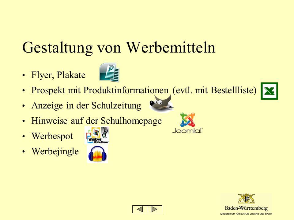 Gestaltung von Werbemitteln Flyer, Plakate Prospekt mit Produktinformationen (evtl. mit Bestellliste) Anzeige in der Schulzeitung Hinweise auf der Sch