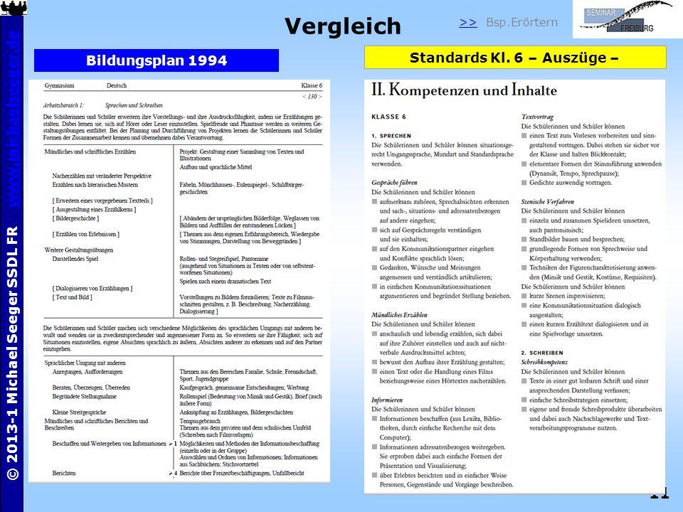 11 © 2013-1 Michael Seeger SSDL FR www.michaelseeger.dewww.michaelseeger.de Vergleich Standards Kl. 6 – Auszüge – Bildungsplan 1994 >> Bsp.Erörtern