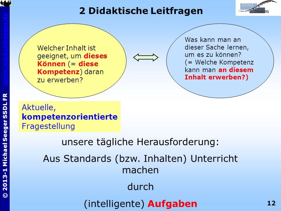 12 © 2013-1 Michael Seeger SSDL FR www.michaelseeger.dewww.michaelseeger.de 2 Didaktische Leitfragen Aktuelle, kompetenzorientierte Fragestellung Was