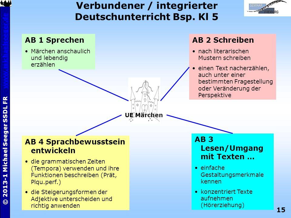 15 © 2013-1 Michael Seeger SSDL FR www.michaelseeger.dewww.michaelseeger.de Verbundener / integrierter Deutschunterricht Bsp. Kl 5 UE Märchen AB 1 Spr