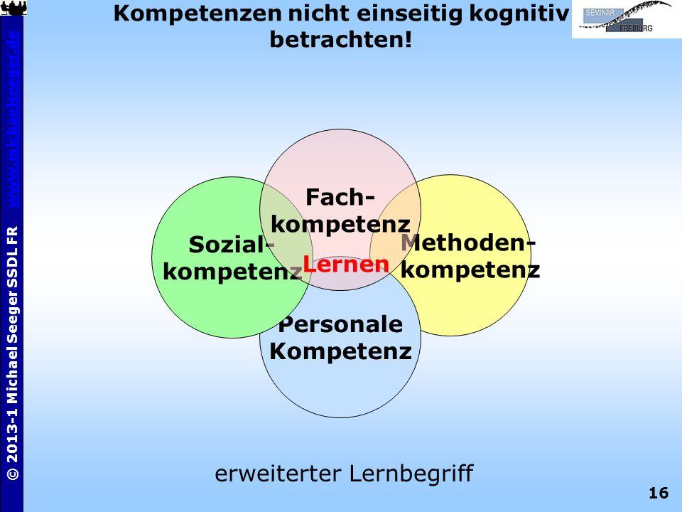 16 © 2013-1 Michael Seeger SSDL FR www.michaelseeger.dewww.michaelseeger.de Kompetenzen nicht einseitig kognitiv betrachten! Methoden- kompetenz Perso