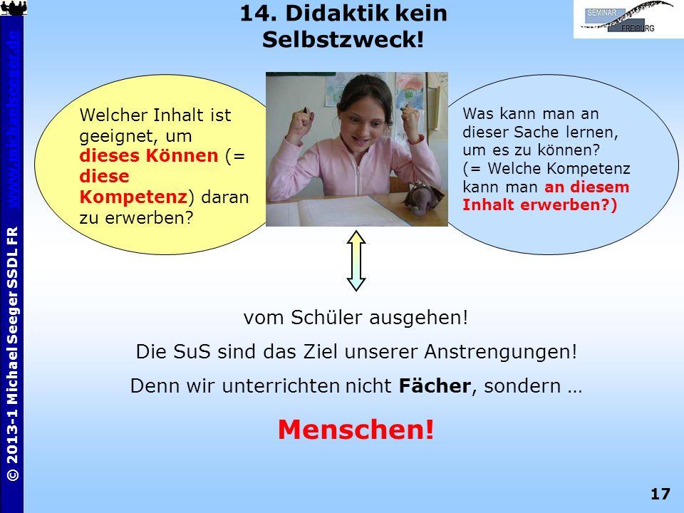 17 © 2013-1 Michael Seeger SSDL FR www.michaelseeger.dewww.michaelseeger.de 14. Didaktik kein Selbstzweck! Was kann man an dieser Sache lernen, um es