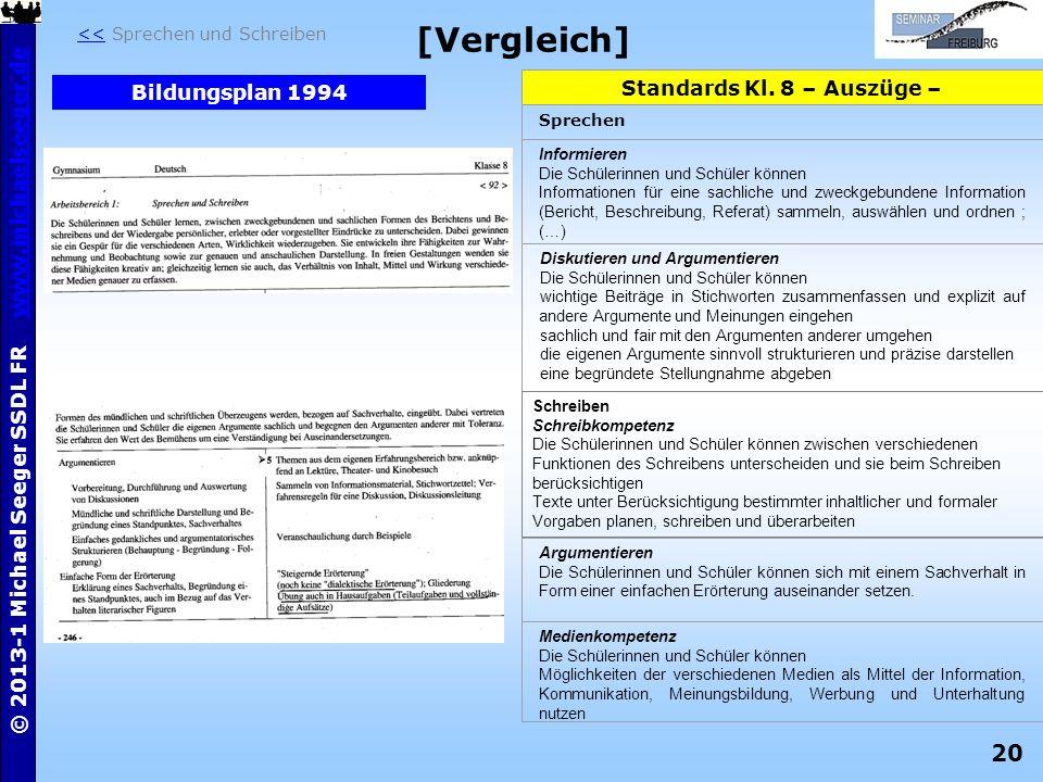 20 © 2013-1 Michael Seeger SSDL FR www.michaelseeger.dewww.michaelseeger.de [Vergleich] Standards Kl. 8 – Auszüge – Sprechen Informieren Die Schülerin