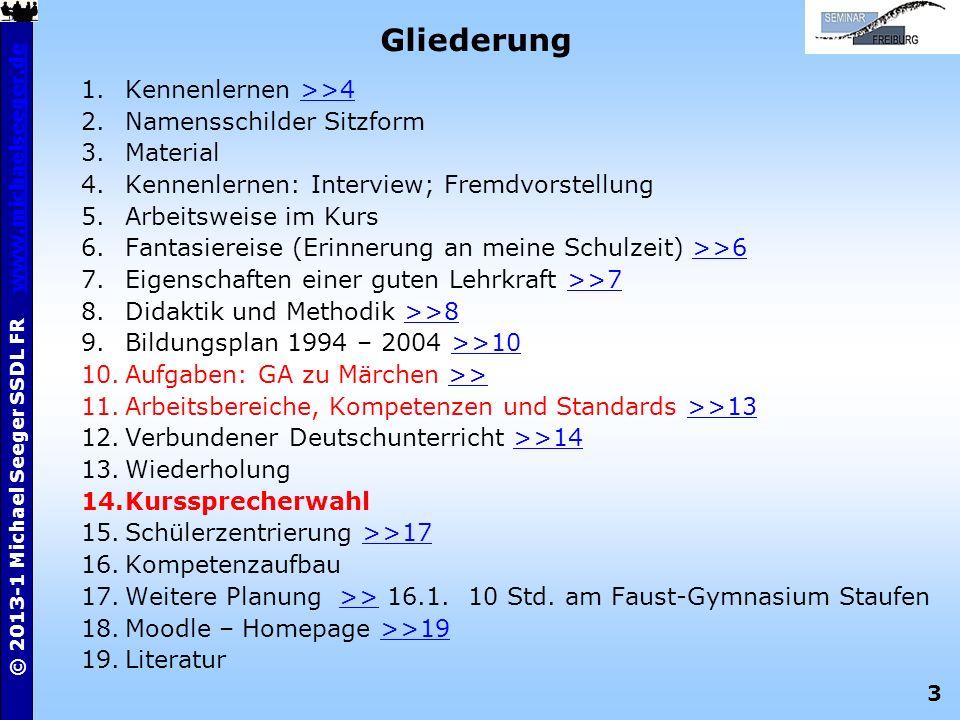 3 © 2013-1 Michael Seeger SSDL FR www.michaelseeger.dewww.michaelseeger.de Gliederung 1.Kennenlernen >>4>>4 2.Namensschilder Sitzform 3.Material 4.Ken