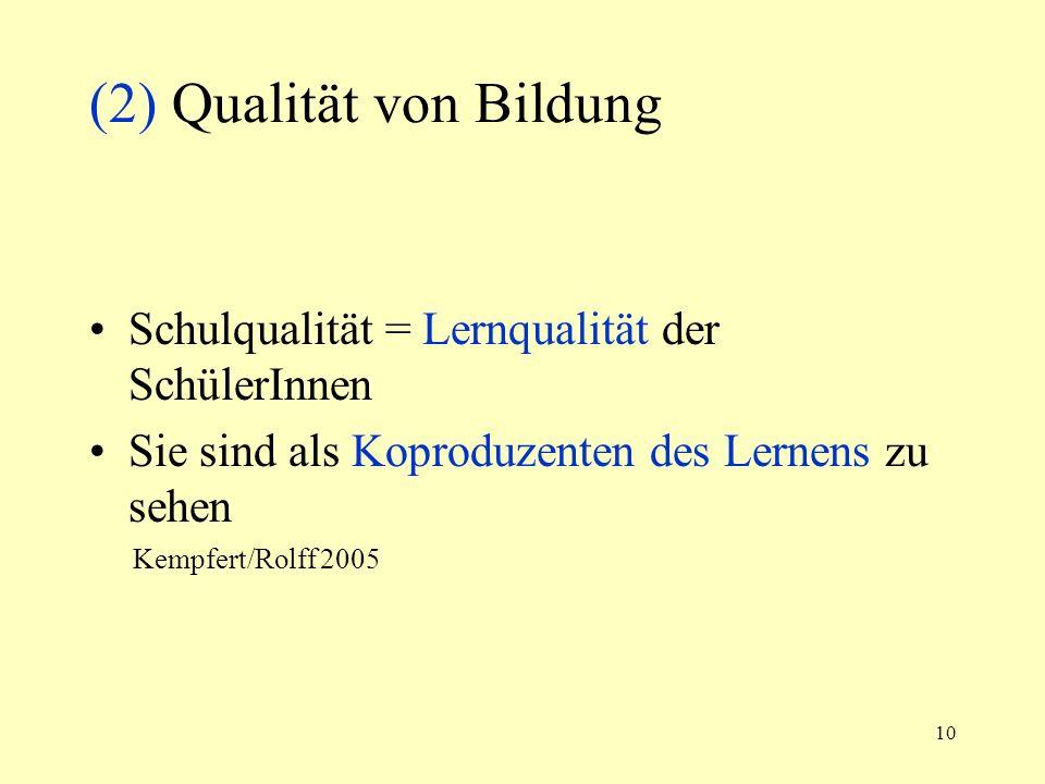 10 (2) Qualität von Bildung Schulqualität = Lernqualität der SchülerInnen Sie sind als Koproduzenten des Lernens zu sehen Kempfert/Rolff 2005