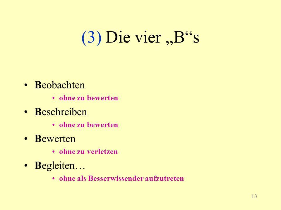 13 (3) Die vier Bs Beobachten ohne zu bewerten Beschreiben ohne zu bewerten Bewerten ohne zu verletzen Begleiten… ohne als Besserwissender aufzutreten