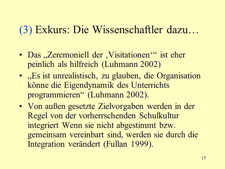 15 (3) Exkurs: Die Wissenschaftler dazu… Das Zeremoniell der Visitationen ist eher peinlich als hilfreich (Luhmann 2002) Es ist unrealistisch, zu glau