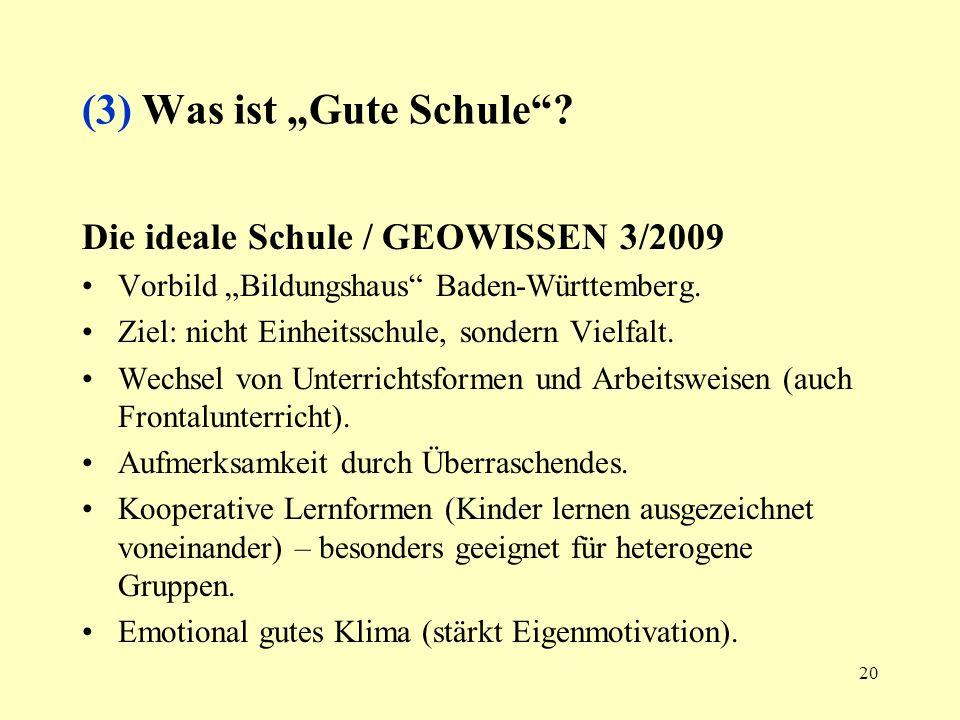 20 (3) Was ist Gute Schule? Die ideale Schule / GEOWISSEN 3/2009 Vorbild Bildungshaus Baden-Württemberg. Ziel: nicht Einheitsschule, sondern Vielfalt.