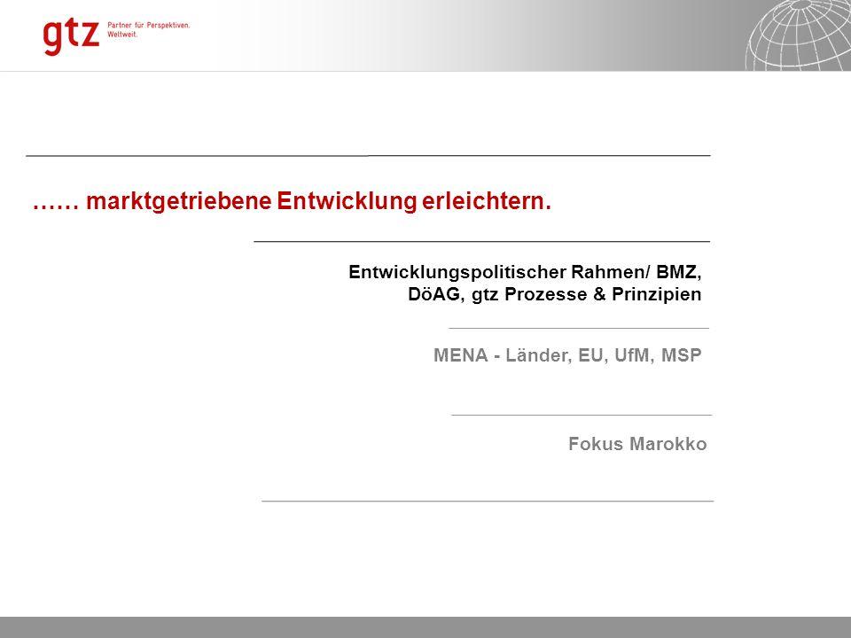 06.01.2014 Seite 2 …… marktgetriebene Entwicklung erleichtern. Entwicklungspolitischer Rahmen/ BMZ, DöAG, gtz Prozesse & Prinzipien MENA - Länder, EU,