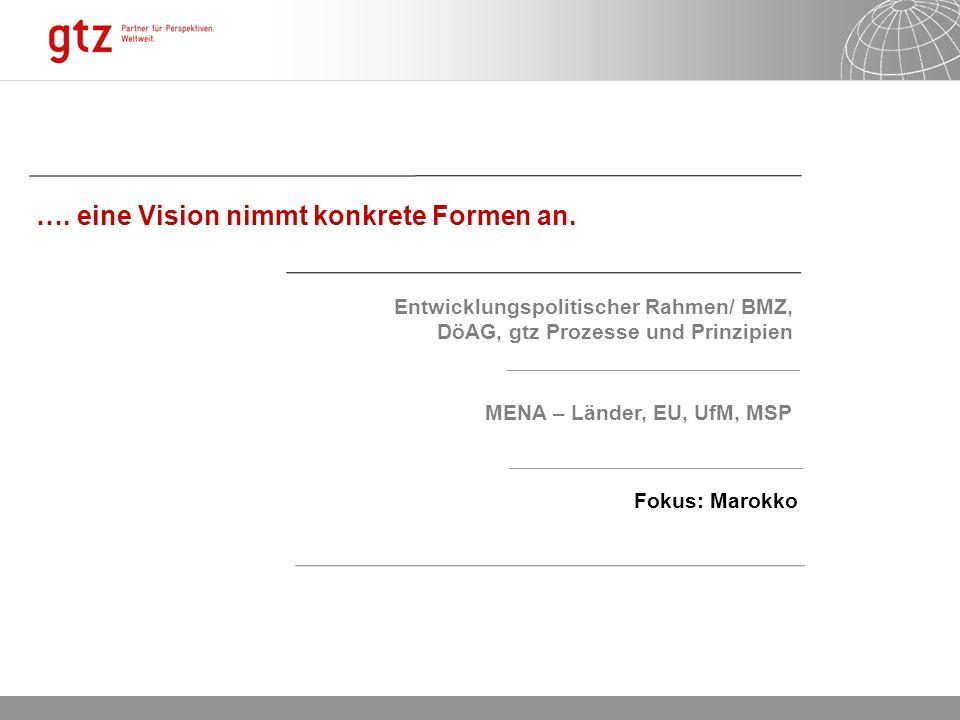 06.01.2014 Seite 6 …. eine Vision nimmt konkrete Formen an. Entwicklungspolitischer Rahmen/ BMZ, DöAG, gtz Prozesse und Prinzipien MENA – Länder, EU,